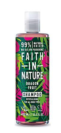A clear bottle and cap. Label decorated with graphic images of pink dragon fruit flowers and green leave. Label shows faith in nature dragon fruit shampoo.
