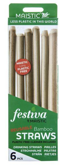 A green and white card box packaging with an image of 6 bamboo straws. Label shows maistic bamboo straws.