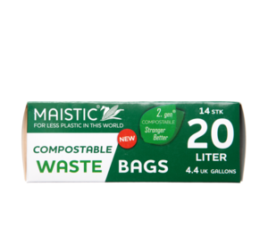 A green and white card box, showing 20ltr maistic compostable waste bag.