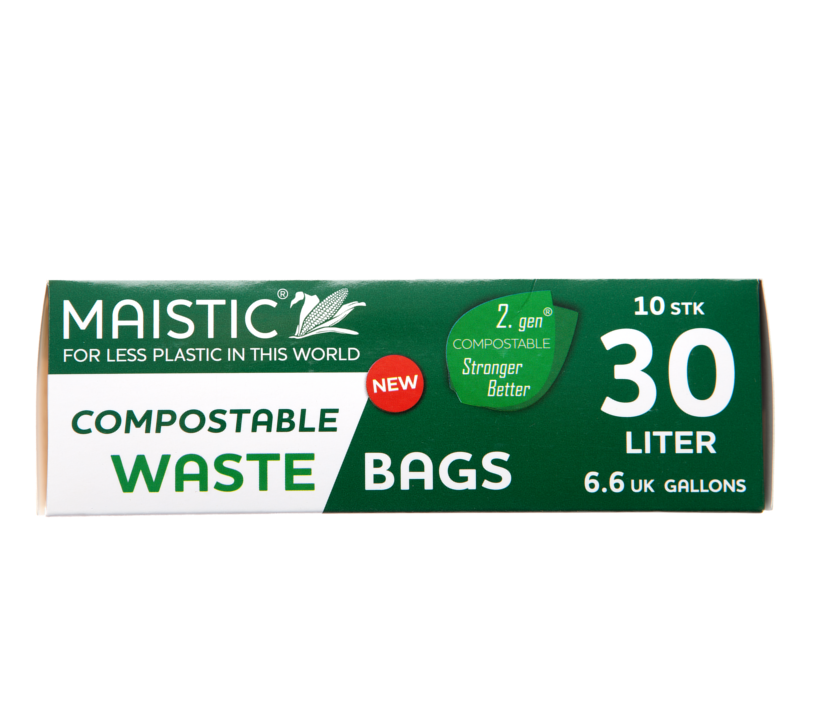 A green and white card box, showing maistic compostable waste bag 30ltr