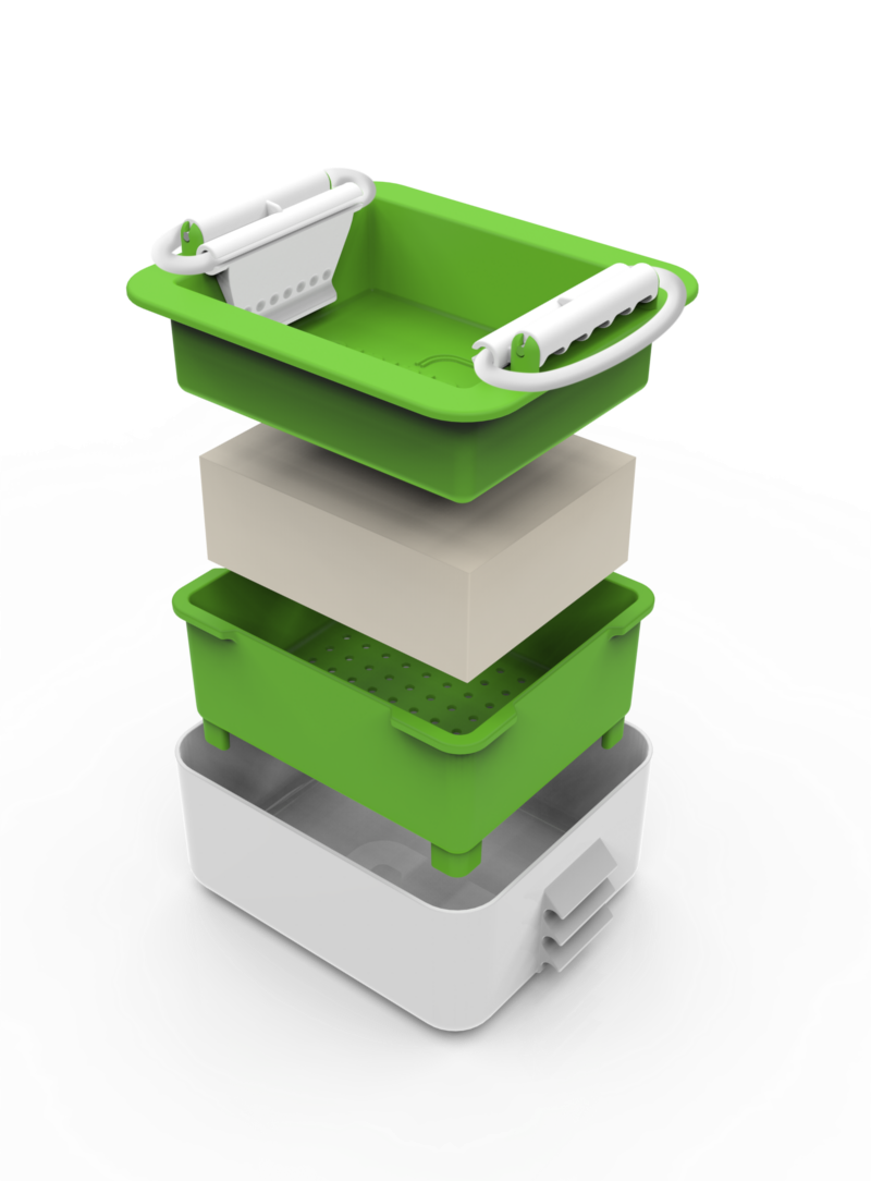 stacked and separated image of rectangular plastic tofu press. 4 layers white bottom box, green strainer section, white block of tofu, green press top.