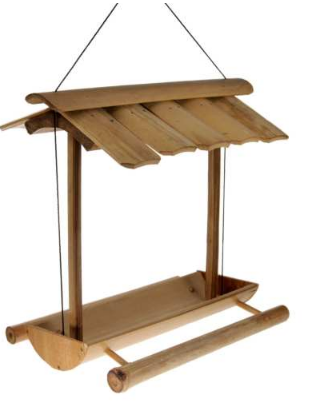 A hanging bird feeder with long rounded bamboo tray and perches. Bamboo roof.