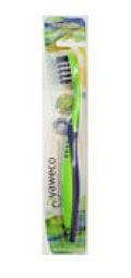 clear plastic packet cardboard backed containing one toothbrush, labelling shows yaweco nylon medium
