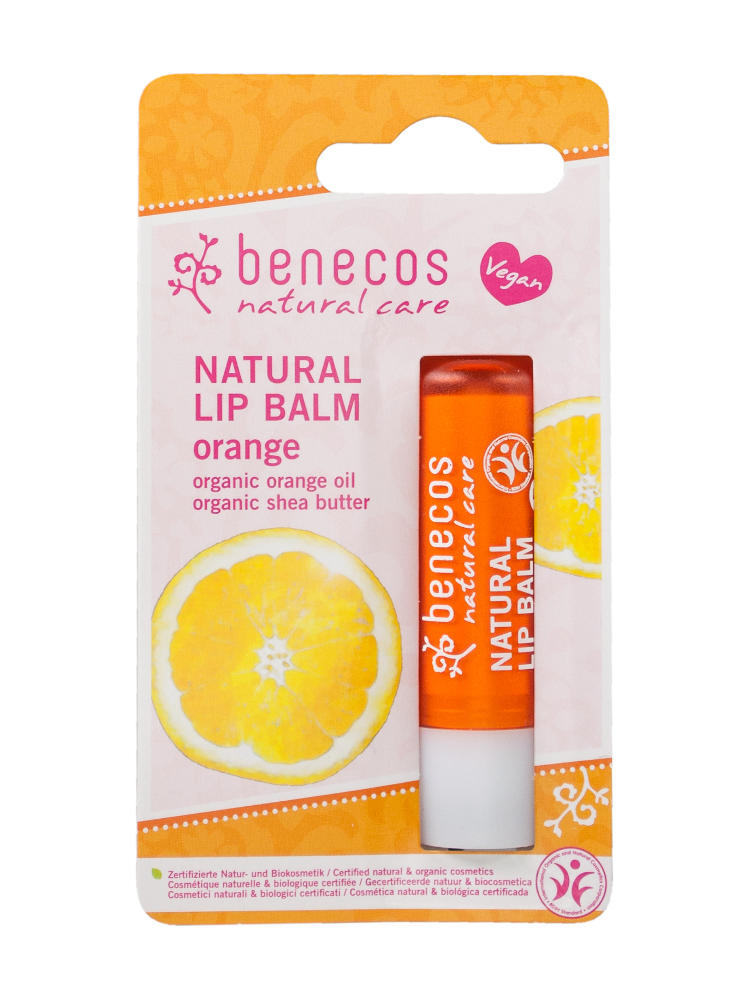 orange card blister packet with orange lip balm, label showing benecos natural lip balm orange