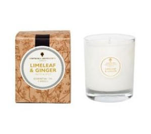ivory candle in clear glass pot with natural gift box labelled amphora limeleaf and ginger