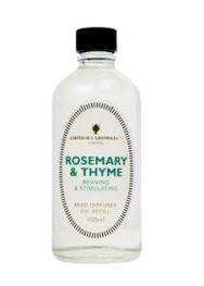 clear glass bottle showing rosemary and thyme reed refill