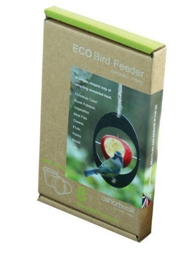 box packaging for eco bird feeder showing bird feeding from hanging oval feeder