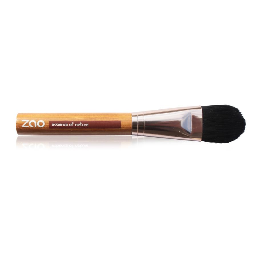 long handled foundation brush, light bamboo wood and rose gold metal handle, black synthetic hair. Handle shows Zao