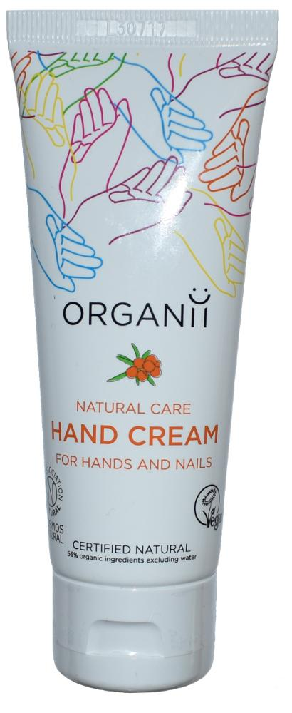 White plastic squeezy tube with flip top lid, images of outlined hands in different colours. Text shows Organii natural care hand cream for hands and nails