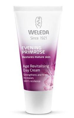 A purple squeezy tube with white cap. Labelling shows weleda evening primrose revitalising day cream.