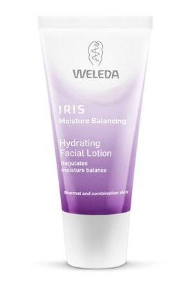 purple squeezy tube with white cap. label shows weleda iris hydrating facial lotion