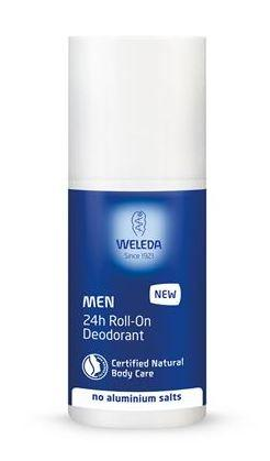 A blue and white roll on deodorant bottle with white cap. Label shows weleda Men 24hr Roll on Deodorant.