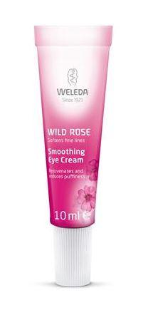 A small dark pink and white coloured tube with white cap. Label shows weleda wild rose smoothing eye cream.