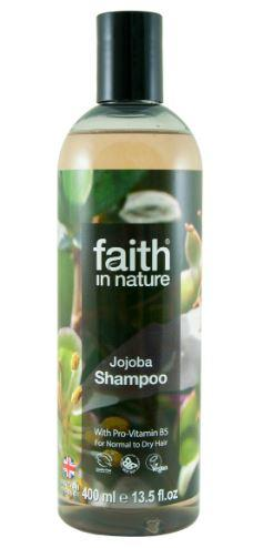 clear plastic bottle with black cap. Photo label shows jojoba tree. Label shows faith in nature jojoba shampoo.