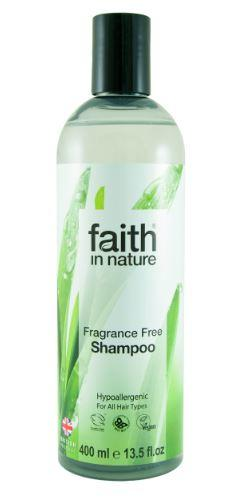 clear plastic bottle containing clear shampoo. Black cap. Label shows photo image of leaves. label shows faith in nature fragrance free shampoo.