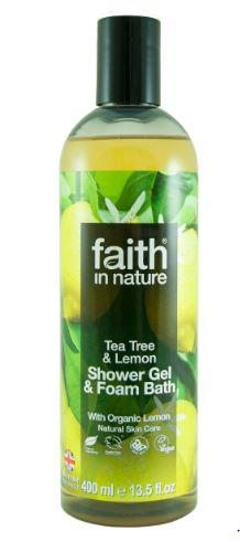 clear plastic bottle with black cap. Label has photo image of lemons. Label shows faith in nature lemon and tea tree shower gel.