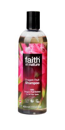 A clear bottle and black cap. Label has photo image of pink dragon fruit flowers and green leaves. Label shows faith in nature dragon fruit shampoo.