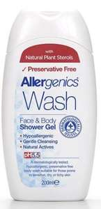 A white plastic bottle with flip top cap and blue text labelling. Label shows allergenics face and body shower gel.