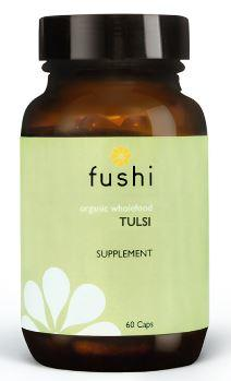 Brown glass jar with black lid. Label shows fushi Tulsi.