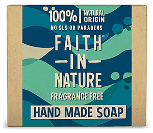 A natural brown rectangle card soap box with blue illustrated label with shades of blue leaves, label text shows faith in nature fragrance free soap