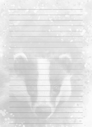 lined notebook page with black and white watermark badger image