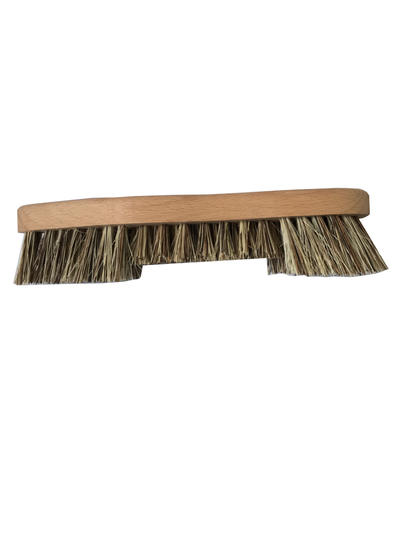 a natural light beech wood coloured scrubbing brush with stiff brown and cream bristles