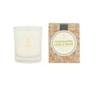 ivory candle in clear glass pot with natural brown gift box labelled mandarin lime and basil