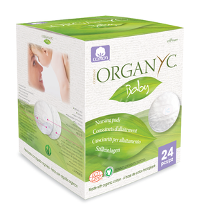 green and white box packaging displaying white cotton breast pad. Label shows Organyc.