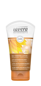 white plastic squeezy tube with golden brown labelling and cap showing image of a sun flower. Label shows Lavera organic self tanning body lotion.