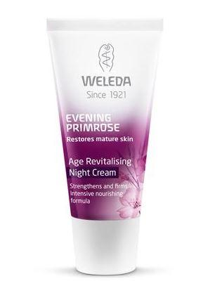 A purple and white squeezy tube with white cap. Label shows weleda evening primrose age revitalising night cream.