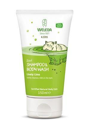 A white tube with an image of a hippo in green water. Label shows weleda kids 2 in 1 shampoo and body wash lively lime.