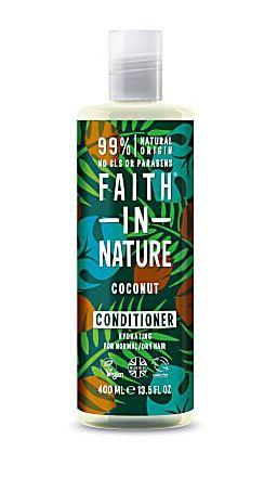 A clear plastic bottle with white cap. Black label decorated with brown coconuts, blue and green leaves. Label shows faith in nature coconut conditioner in white writing.