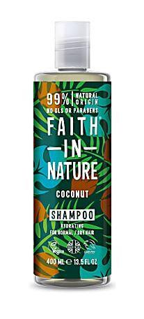 A clear plastic bottle with white cap. Black label decorated with brown coconuts, blue and green leaves. Label shows faith in nature coconut shampoo in white.