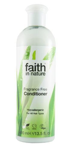 A clear plastic bottle with white cap. Label has photo image of leaves. Label shows faith in nature fragrance free conditioner.
