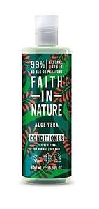 A clear plastic bottle and cap, label has graphic images of red aloe vera flowers and green leaves. Label shows faith in nature aloe vera conditioner
