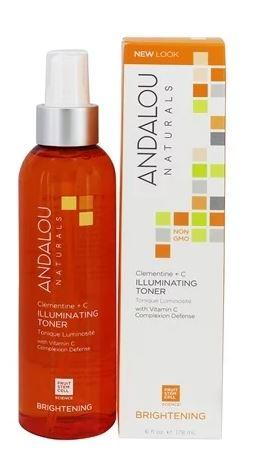 an orange bottle with silver collar and white atomiser. Label shows andalou clementine illuminating toner. white and orange box packaging.