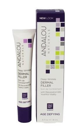 White squeezy plastic tube with purple cap. Purple and white box packaging. Labels show Andalou deep wrinkle derma filler.