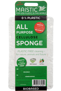 A white thin sponge packaged in a dark green card wrap. Label shows maistic plastic free all purpose sponge.