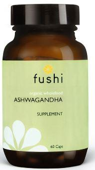 Brown glass jar with black lid. Label shows fushi Ashwagandha.