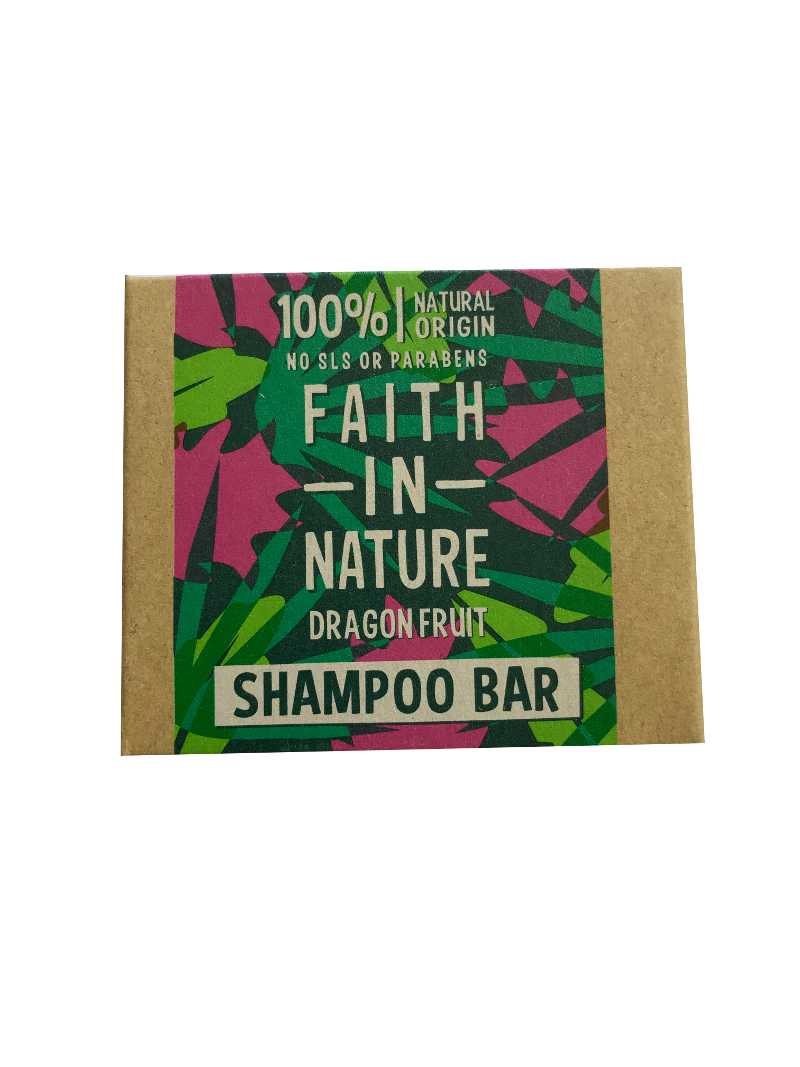 A rectangle natural brown card soap box with pink and green tropical leaf and fruit pattern. Labelling shows faith in nature dragon fruit shampoo bar.