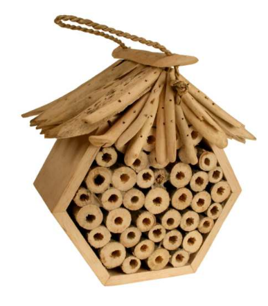 A natural hexagon wood bug box made up with round circular bamboo tubes. Drift wood roof.