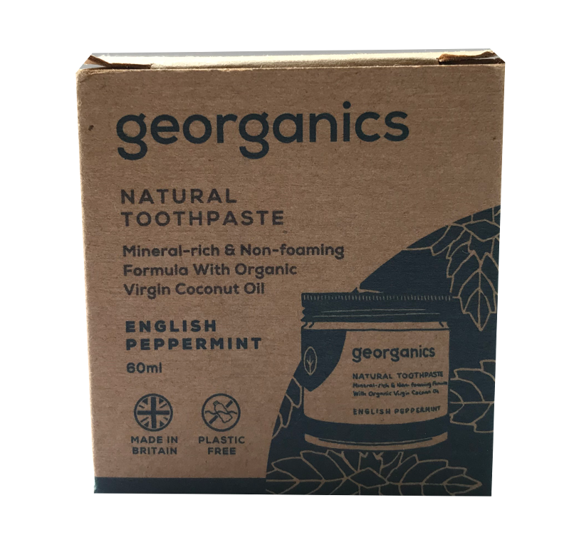 Natural Brown Card Box Packaging showing image of jar. Labelling shows georganics natural toothpaste english peppermint