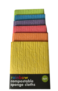 layered sponge cloths showing assorted colours, yellow, orange, red, purple, blue and lime green. Black label with white writing shows rainbow compostable sponge cloths.