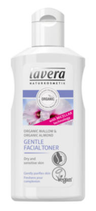 lavera organic gentle toner, organic mallow and almond in a white plastic bottle showing a mallow flower