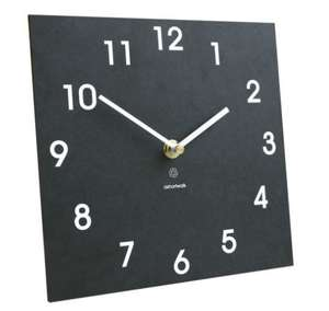 dark grey slate like square clock with numbers