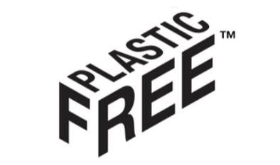 Plastic free logo in black and white text shown in 3d box form. The word plastic across the top and Free written around the side