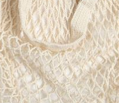 close up of natural cotton string shopping bag