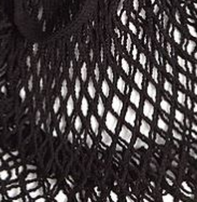 close up of black coloured cotton string shopping bag