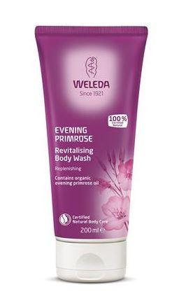A purple squeezy tube with white cap. Labelling shows weleda evening primrose revitalising body wash.