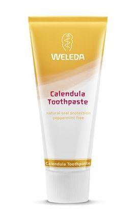 A squeezy yellow and white tube with white cap. Label shows weleda calendula toothpaste